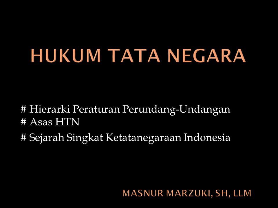 HUKUM TATA NEGARA # Hierarki Peraturan Perundang-Undangan # Asas HTN