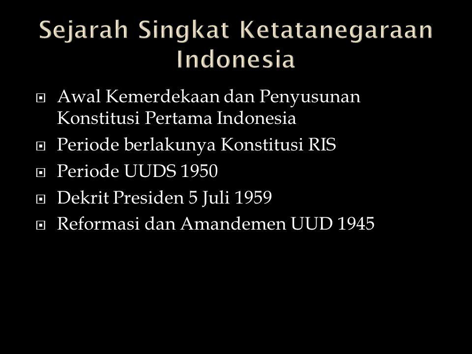 Sejarah Singkat Ketatanegaraan Indonesia
