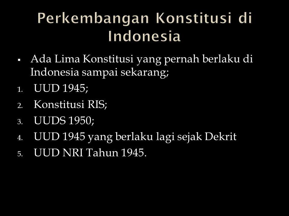 Perkembangan Konstitusi di Indonesia
