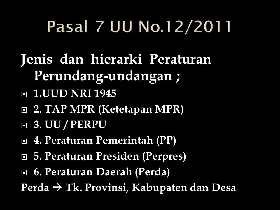 Pasal 7 UU No.12/2011 Jenis dan hierarki Peraturan Perundang-undangan ; 1.UUD NRI 1945. 2. TAP MPR (Ketetapan MPR)