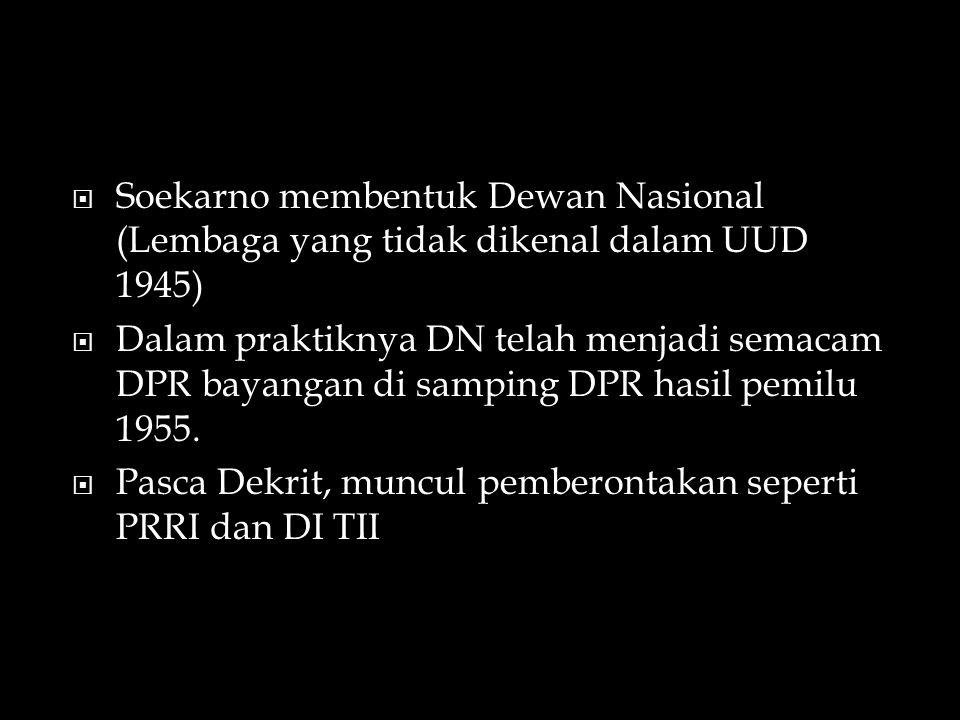Soekarno membentuk Dewan Nasional (Lembaga yang tidak dikenal dalam UUD 1945)