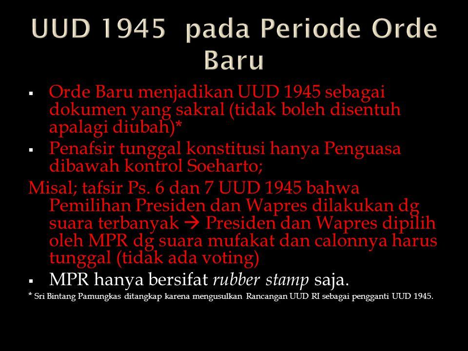UUD 1945 pada Periode Orde Baru