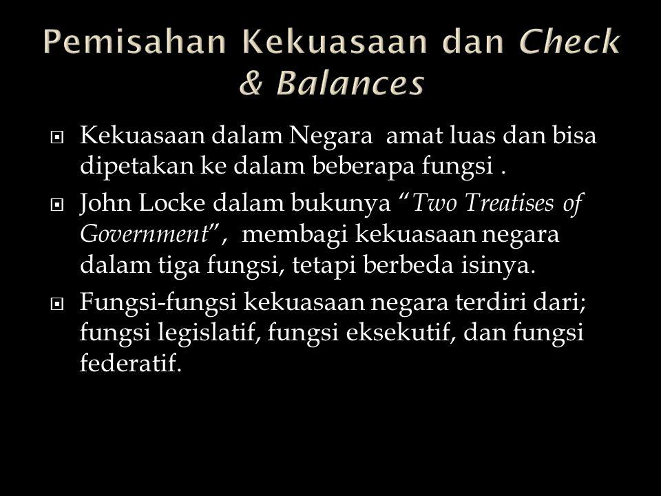 Pemisahan Kekuasaan dan Check & Balances