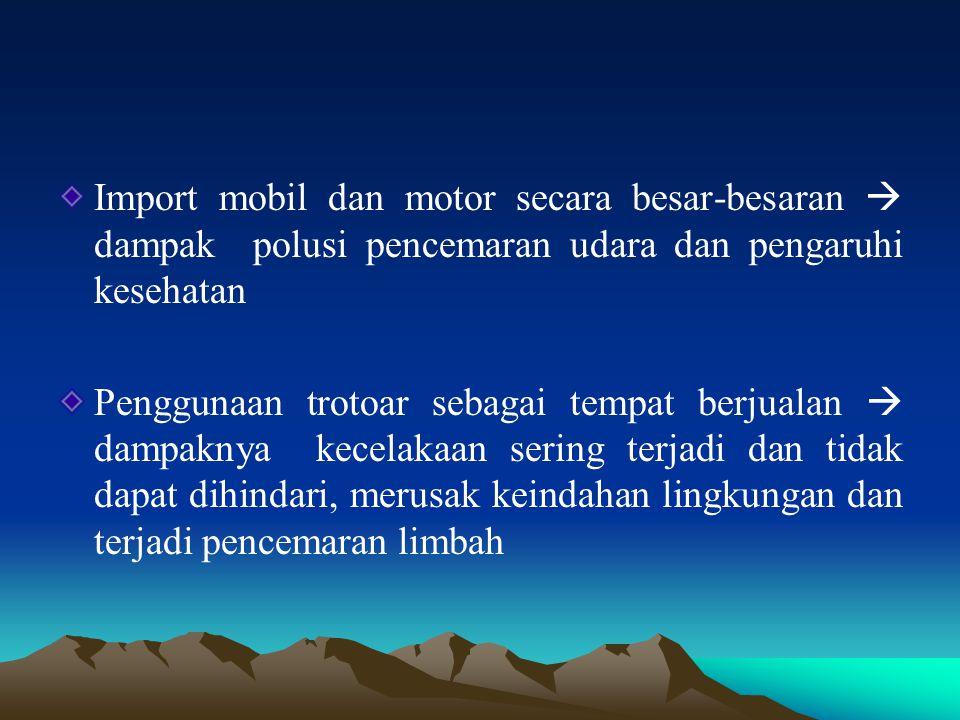 Import mobil dan motor secara besar-besaran  dampak polusi pencemaran udara dan pengaruhi kesehatan