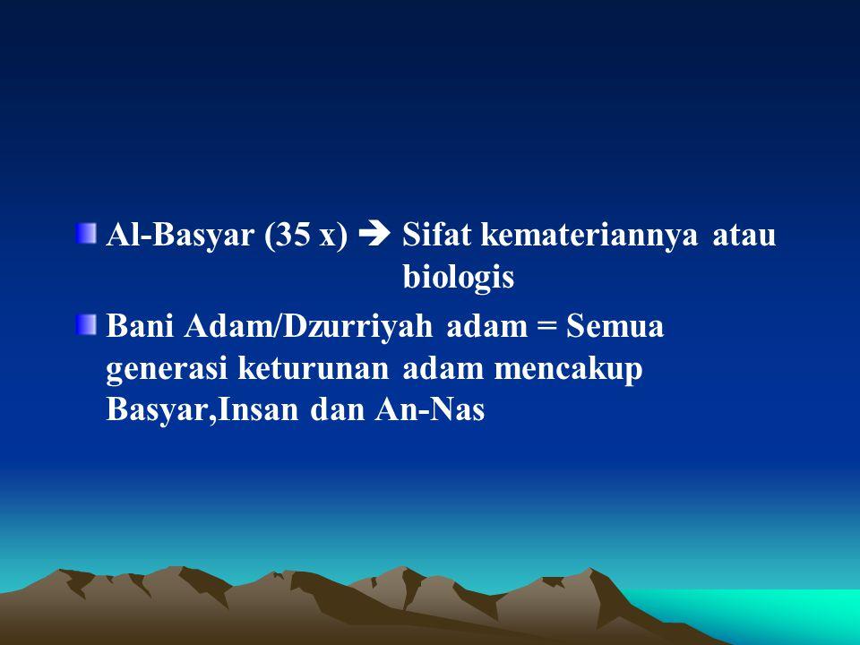 Al-Basyar (35 x)  Sifat kemateriannya atau biologis