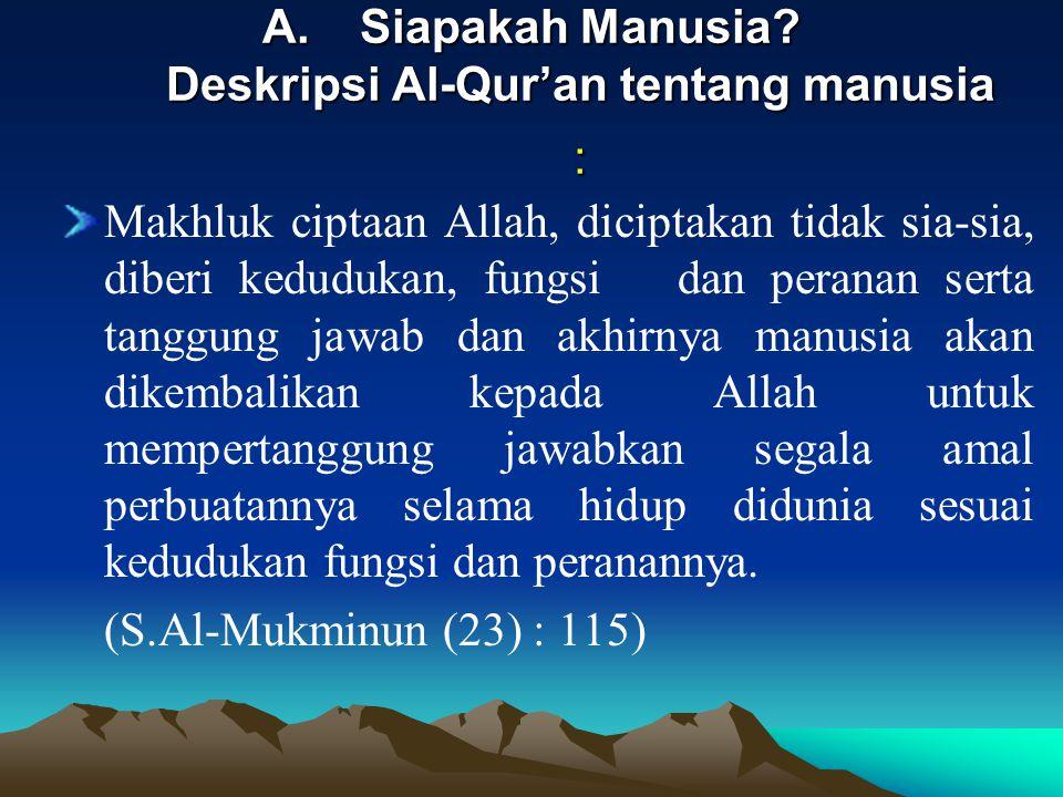 Siapakah Manusia Deskripsi Al-Qur'an tentang manusia :