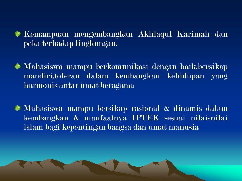 Kemampuan mengembangkan Akhlaqul Karimah dan peka terhadap lingkungan.