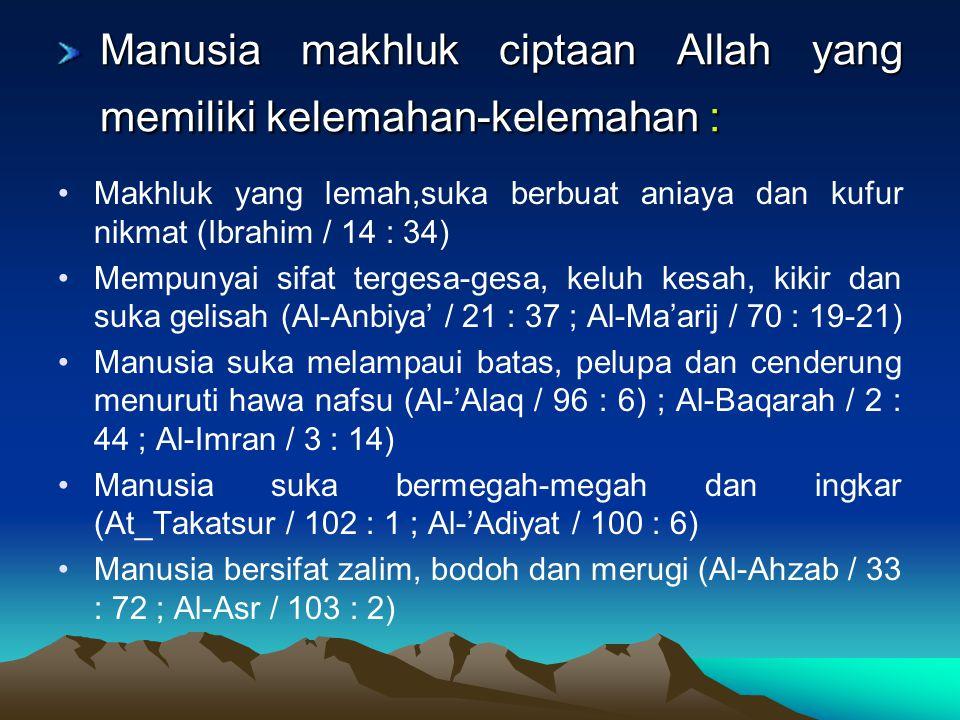 Manusia makhluk ciptaan Allah yang memiliki kelemahan-kelemahan :
