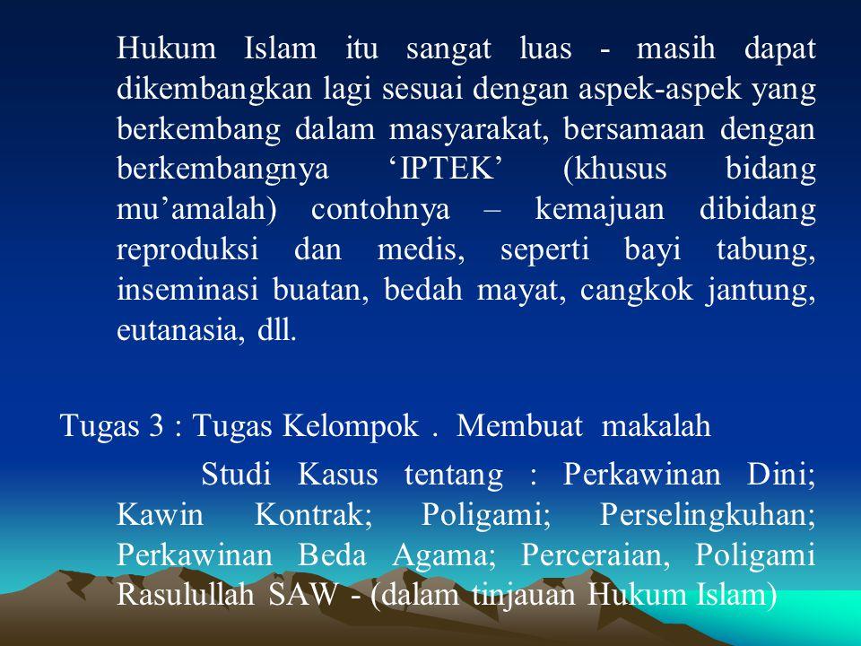 Hukum Islam itu sangat luas - masih dapat dikembangkan lagi sesuai dengan aspek-aspek yang berkembang dalam masyarakat, bersamaan dengan berkembangnya 'IPTEK' (khusus bidang mu'amalah) contohnya – kemajuan dibidang reproduksi dan medis, seperti bayi tabung, inseminasi buatan, bedah mayat, cangkok jantung, eutanasia, dll.