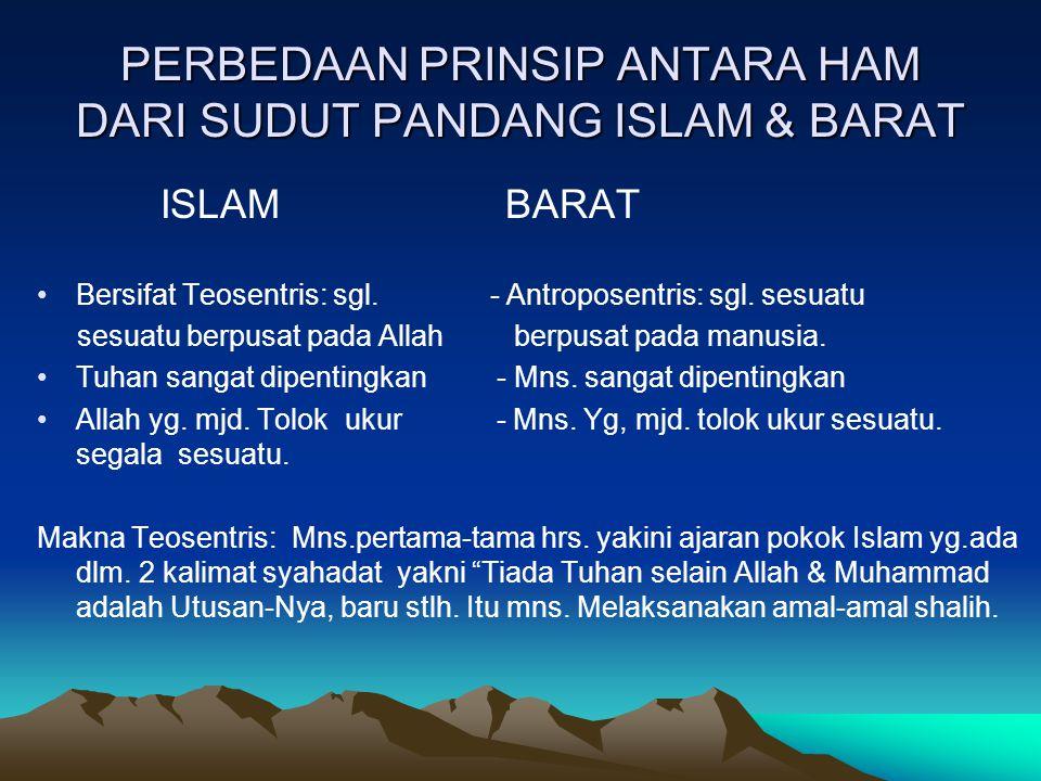 PERBEDAAN PRINSIP ANTARA HAM DARI SUDUT PANDANG ISLAM & BARAT