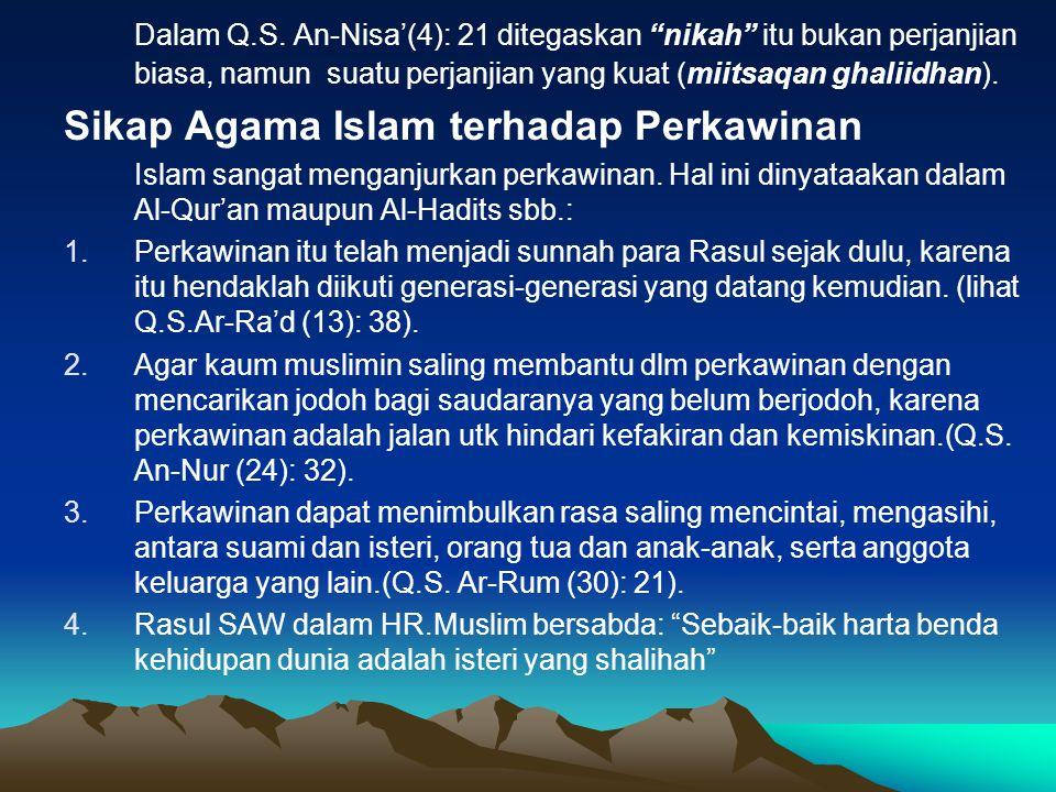 Sikap Agama Islam terhadap Perkawinan
