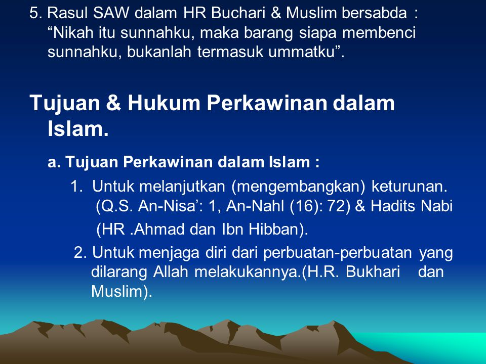 Tujuan & Hukum Perkawinan dalam Islam.