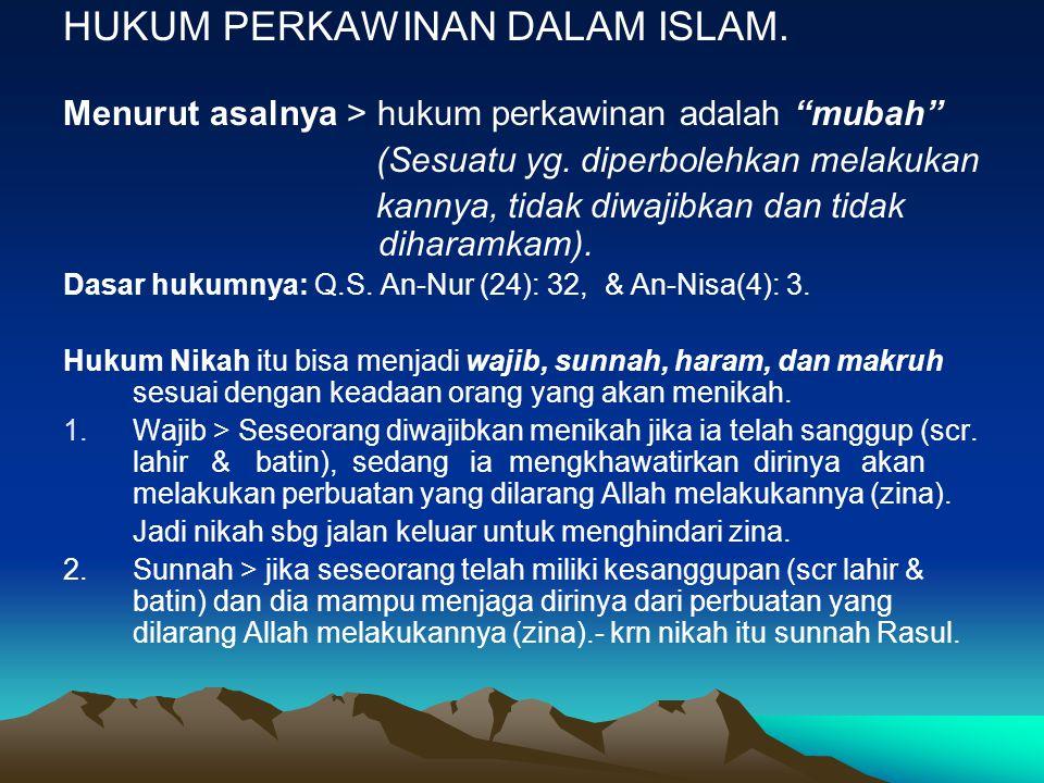 HUKUM PERKAWINAN DALAM ISLAM.