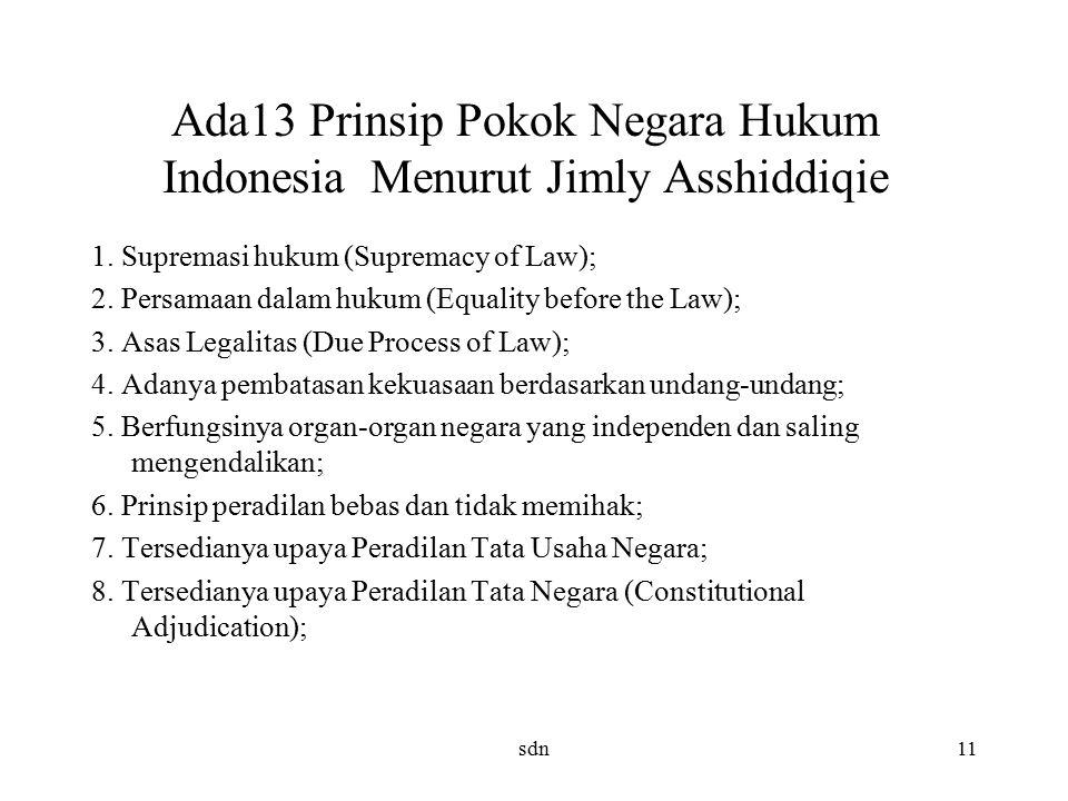 Ada13 Prinsip Pokok Negara Hukum Indonesia Menurut Jimly Asshiddiqie