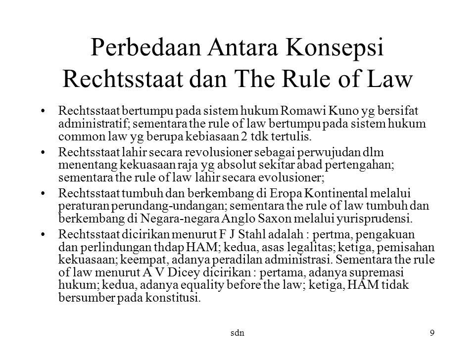 Perbedaan Antara Konsepsi Rechtsstaat dan The Rule of Law