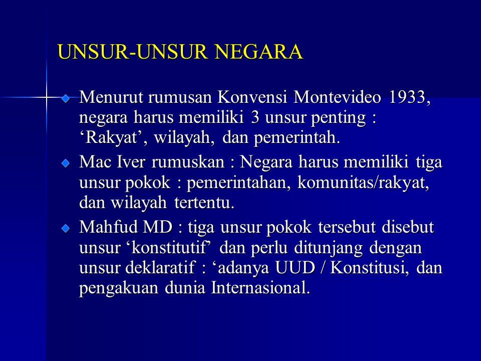 UNSUR-UNSUR NEGARA Menurut rumusan Konvensi Montevideo 1933, negara harus memiliki 3 unsur penting : 'Rakyat', wilayah, dan pemerintah.