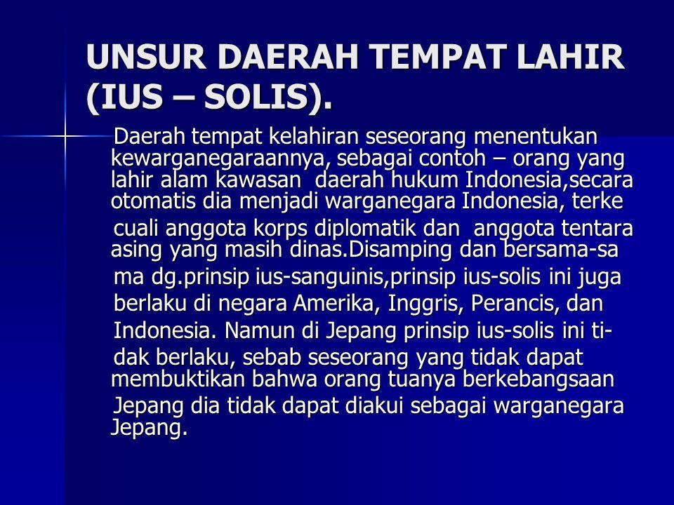 UNSUR DAERAH TEMPAT LAHIR (IUS – SOLIS).