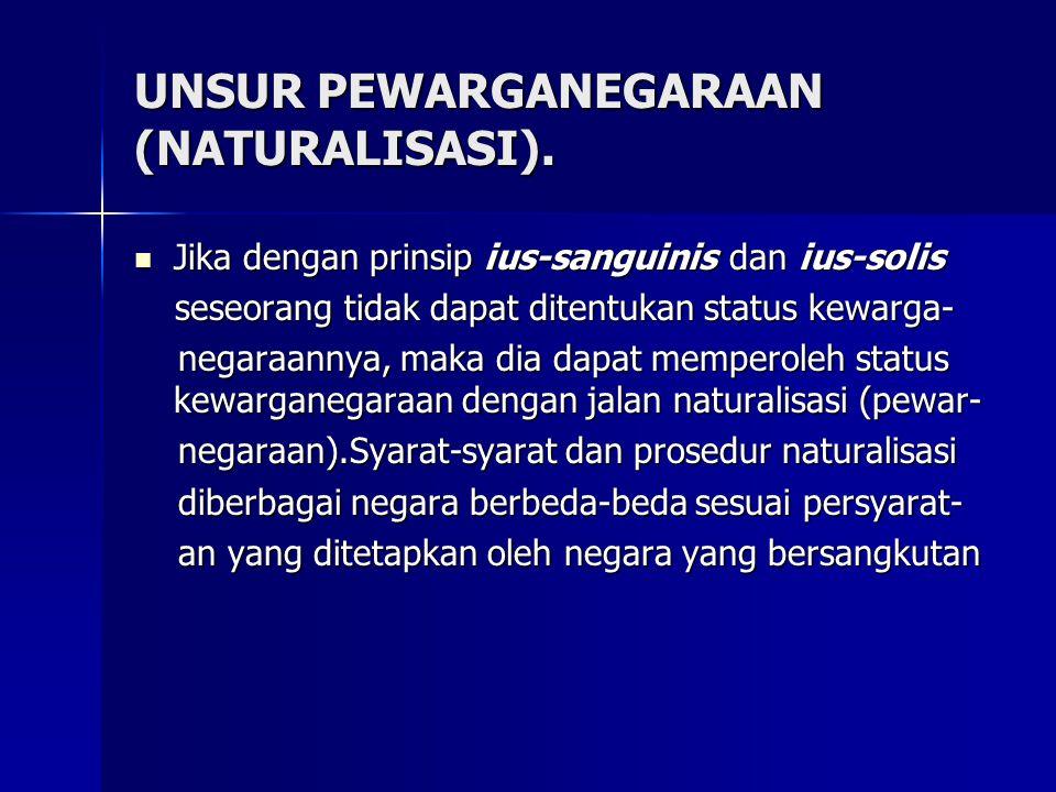 UNSUR PEWARGANEGARAAN (NATURALISASI).