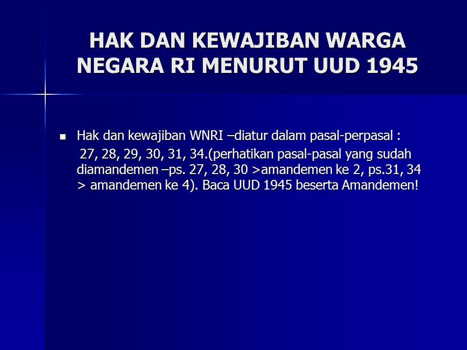 HAK DAN KEWAJIBAN WARGA NEGARA RI MENURUT UUD 1945