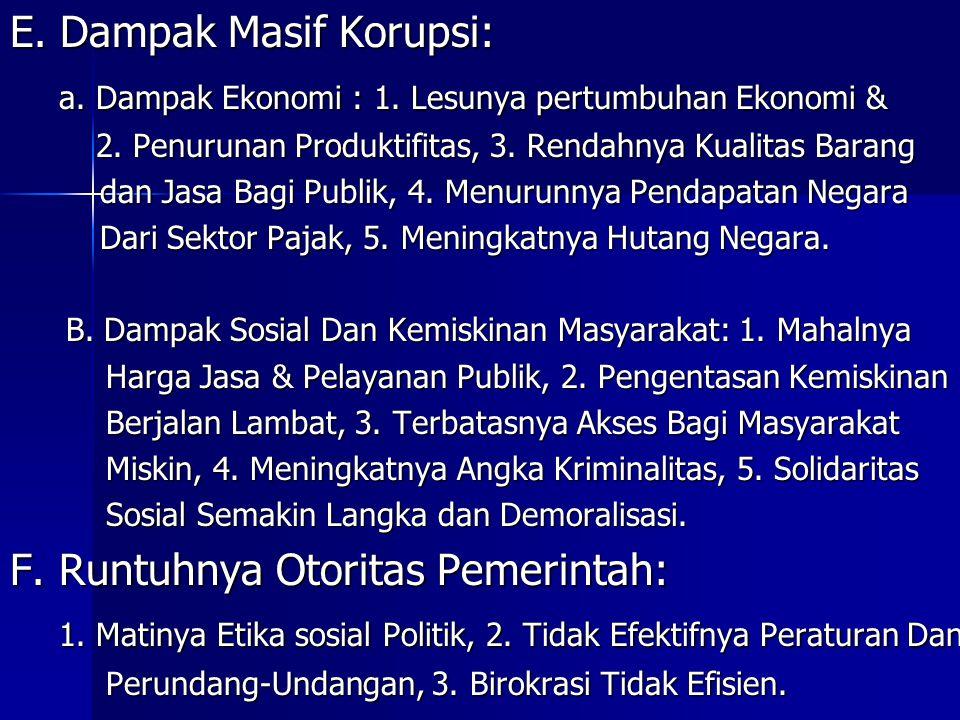 E. Dampak Masif Korupsi: