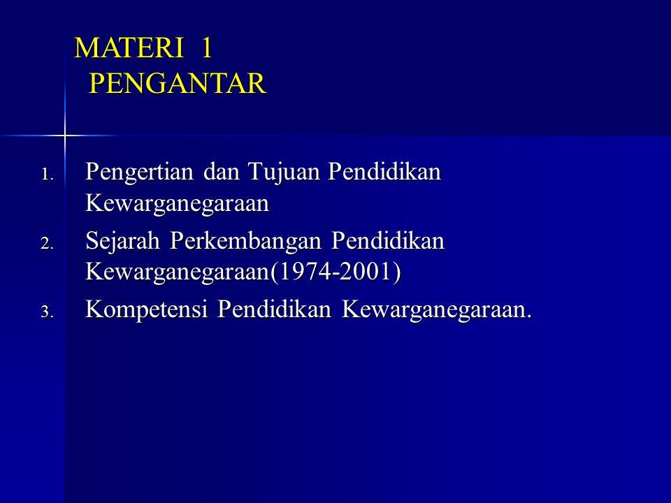 MATERI 1 PENGANTAR Pengertian dan Tujuan Pendidikan Kewarganegaraan