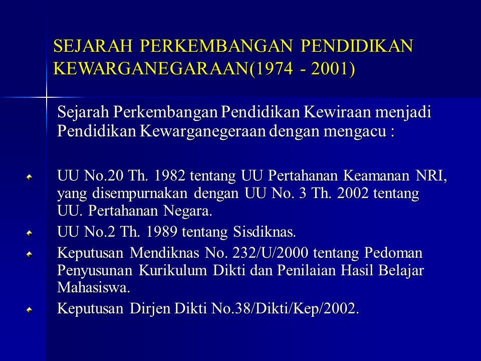 SEJARAH PERKEMBANGAN PENDIDIKAN KEWARGANEGARAAN(1974 - 2001)