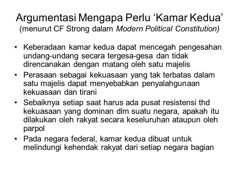 Argumentasi Mengapa Perlu 'Kamar Kedua' (menurut CF Strong dalam Modern Political Constitution)