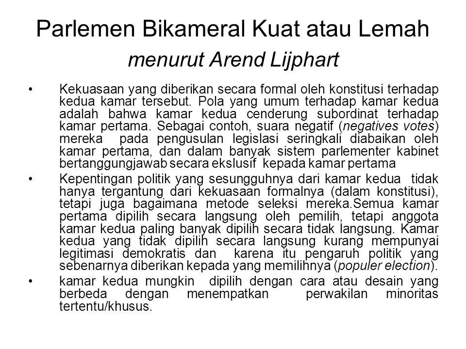 Parlemen Bikameral Kuat atau Lemah menurut Arend Lijphart