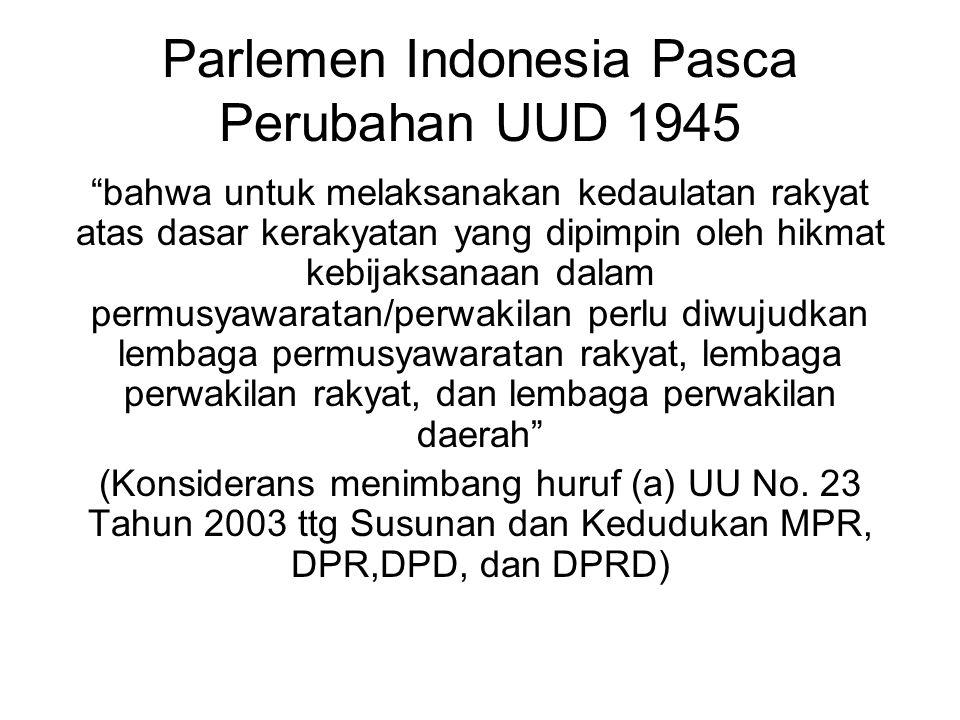 Parlemen Indonesia Pasca Perubahan UUD 1945