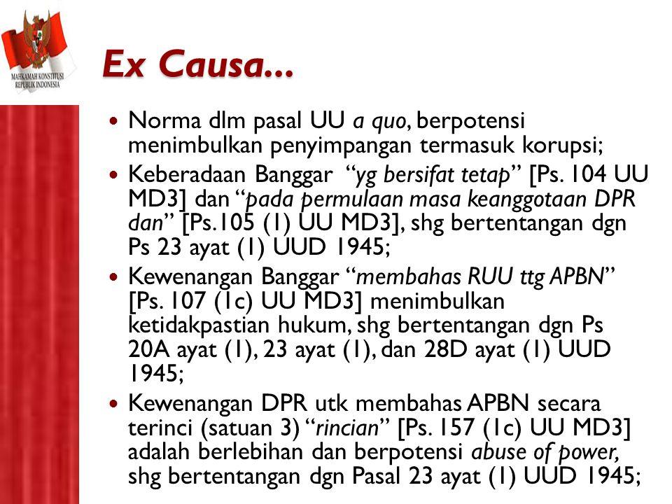 Ex Causa... Norma dlm pasal UU a quo, berpotensi menimbulkan penyimpangan termasuk korupsi;