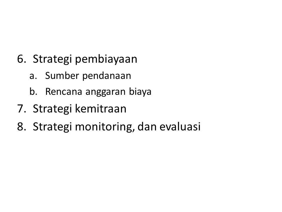 Strategi monitoring, dan evaluasi