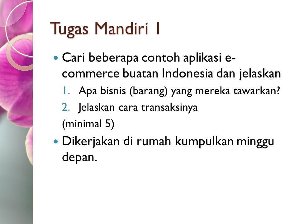 Tugas Mandiri 1 Cari beberapa contoh aplikasi e- commerce buatan Indonesia dan jelaskan. Apa bisnis (barang) yang mereka tawarkan
