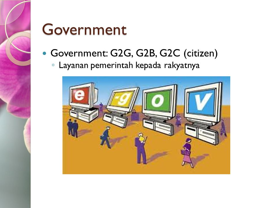 Government Government: G2G, G2B, G2C (citizen)