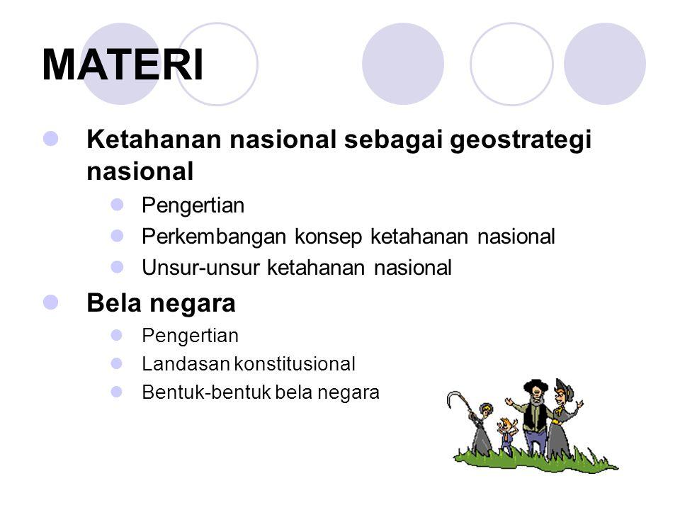 MATERI Ketahanan nasional sebagai geostrategi nasional Bela negara