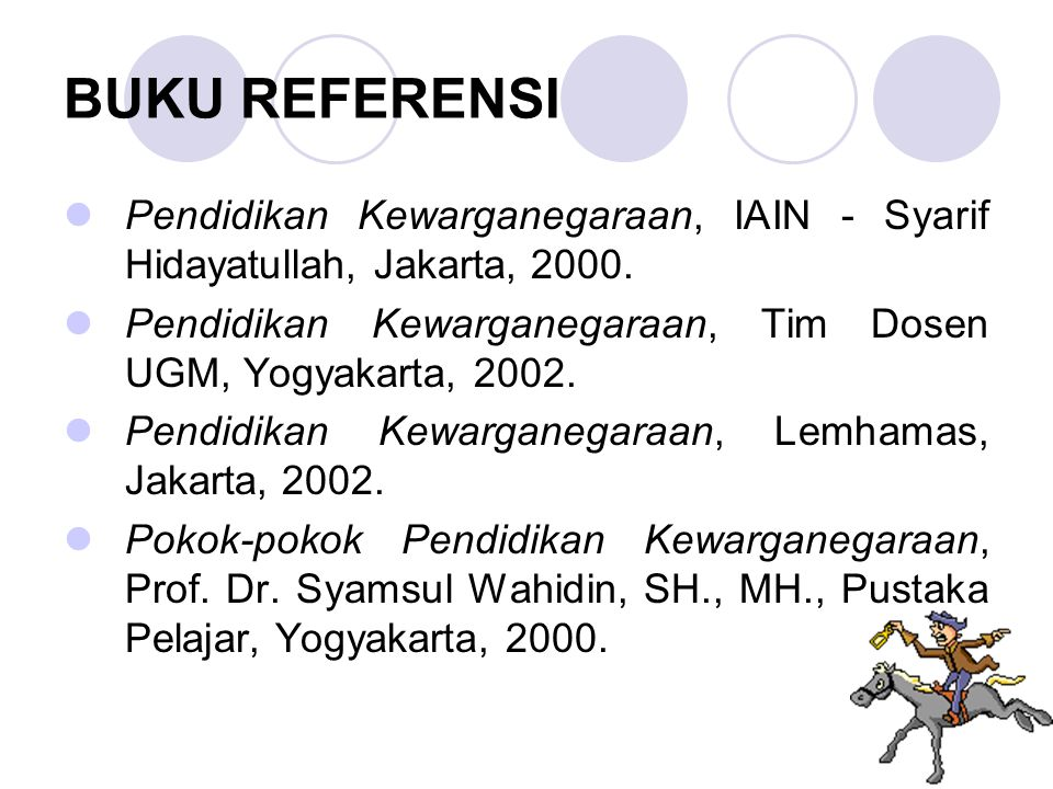 BUKU REFERENSI Pendidikan Kewarganegaraan, IAIN - Syarif Hidayatullah, Jakarta, 2000. Pendidikan Kewarganegaraan, Tim Dosen UGM, Yogyakarta, 2002.