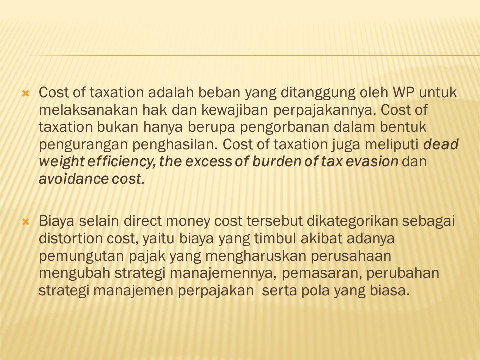 Cost of taxation adalah beban yang ditanggung oleh WP untuk melaksanakan hak dan kewajiban perpajakannya. Cost of taxation bukan hanya berupa pengorbanan dalam bentuk pengurangan penghasilan. Cost of taxation juga meliputi dead weight efficiency, the excess of burden of tax evasion dan avoidance cost.