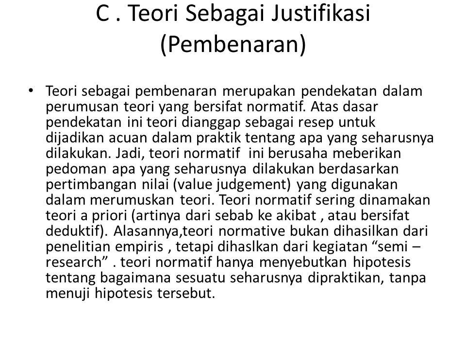 C . Teori Sebagai Justifikasi (Pembenaran)