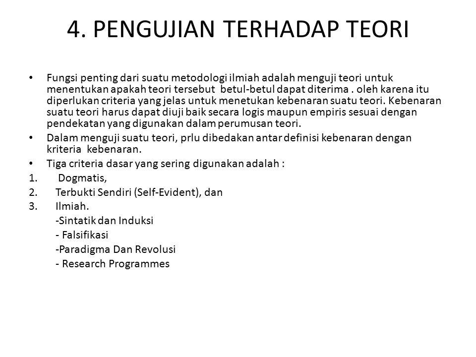 4. PENGUJIAN TERHADAP TEORI