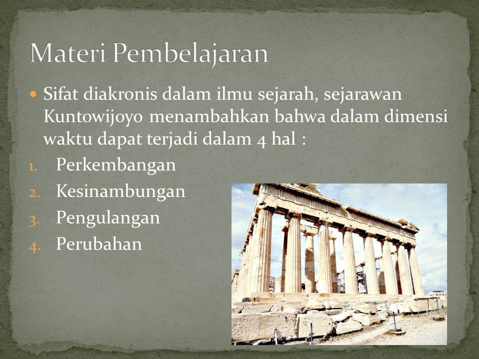 Materi Pembelajaran Sifat diakronis dalam ilmu sejarah, sejarawan Kuntowijoyo menambahkan bahwa dalam dimensi waktu dapat terjadi dalam 4 hal :
