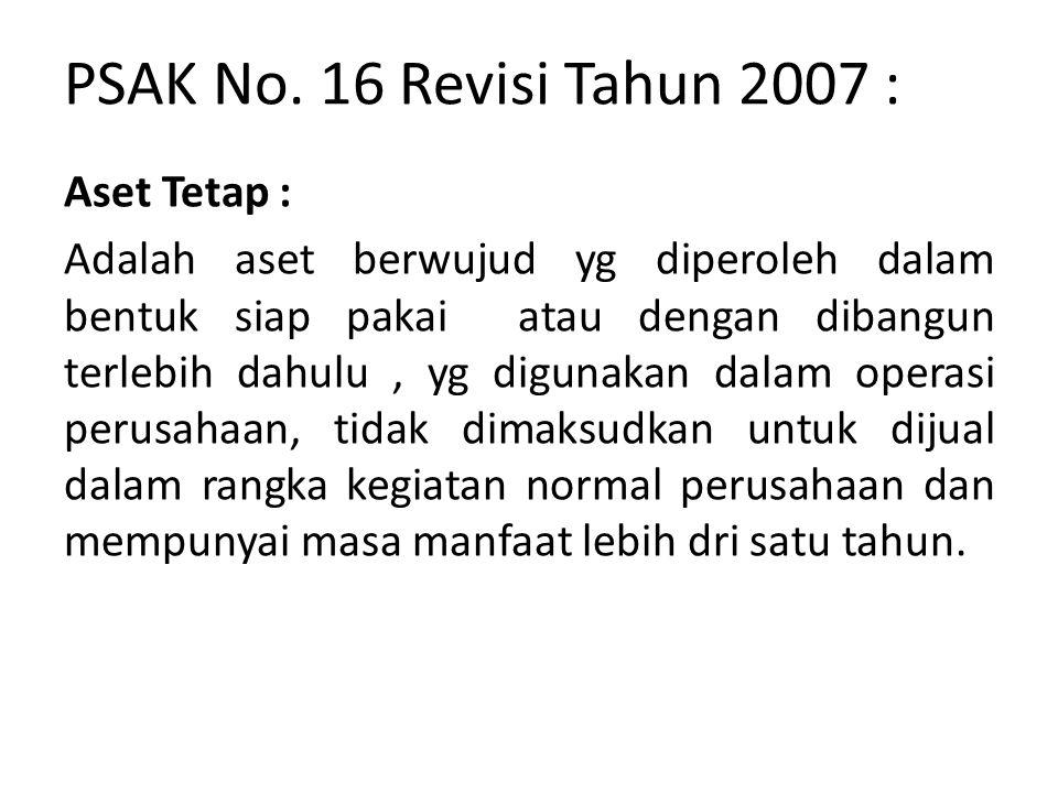 PSAK No. 16 Revisi Tahun 2007 :