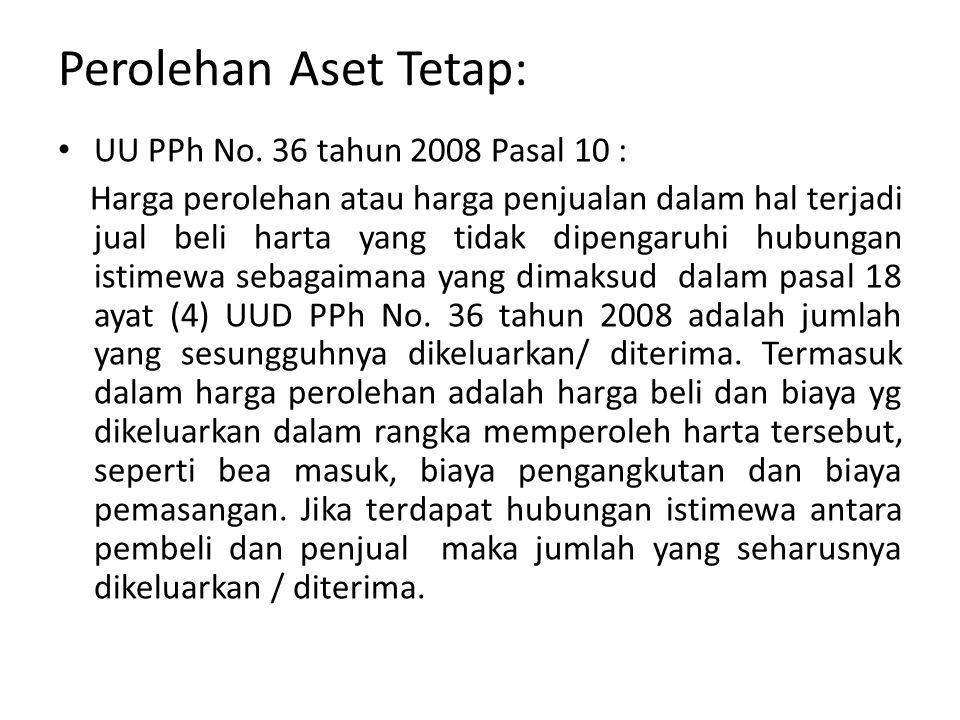 Perolehan Aset Tetap: UU PPh No. 36 tahun 2008 Pasal 10 :