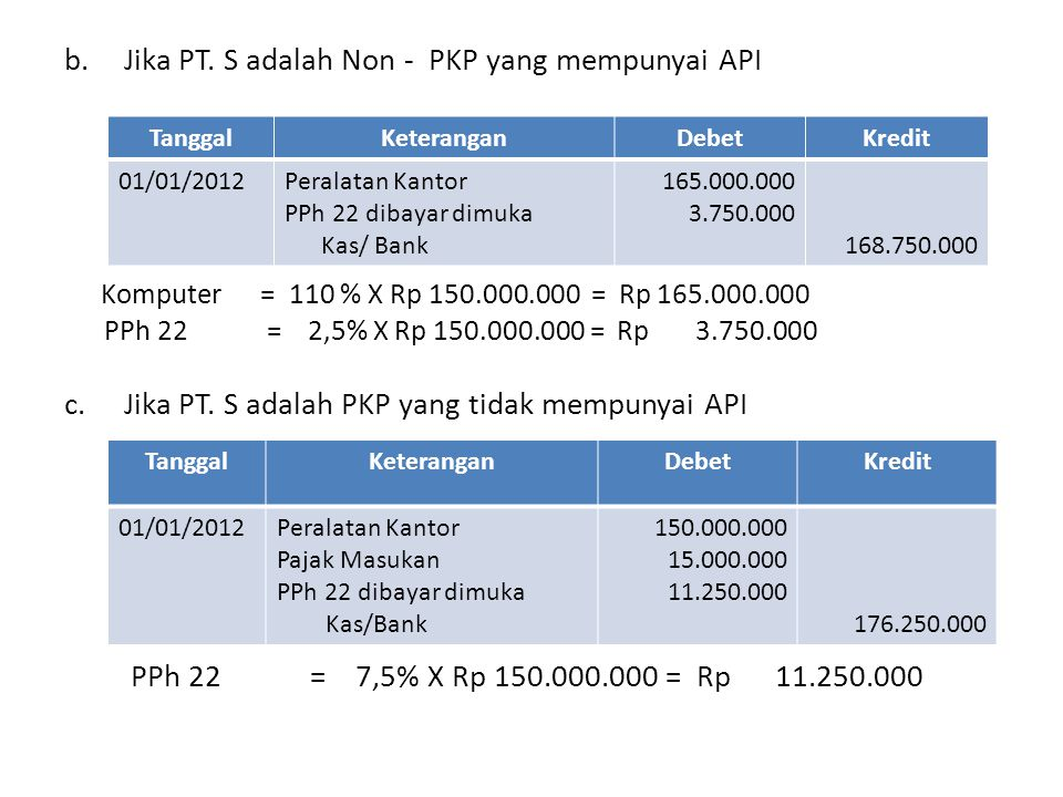 Jika PT. S adalah Non - PKP yang mempunyai API