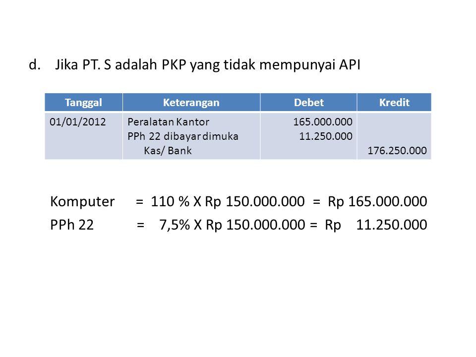 Jika PT. S adalah PKP yang tidak mempunyai API