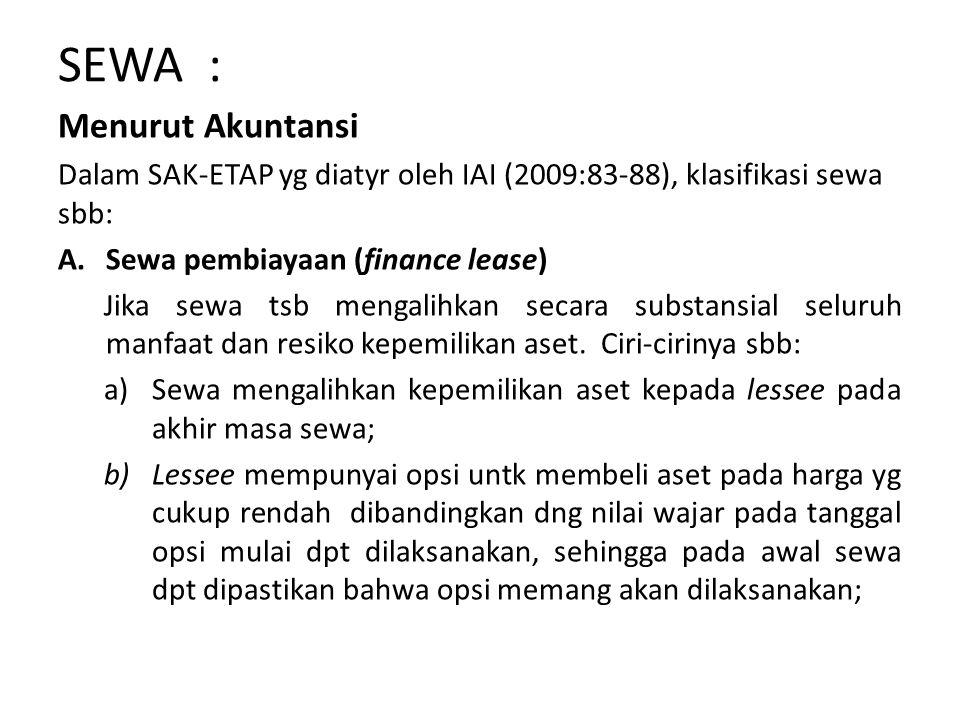 SEWA : Menurut Akuntansi