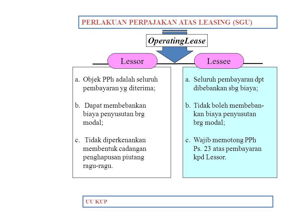 OperatingLease Lessor Lessee PERLAKUAN PERPAJAKAN ATAS LEASING (SGU)