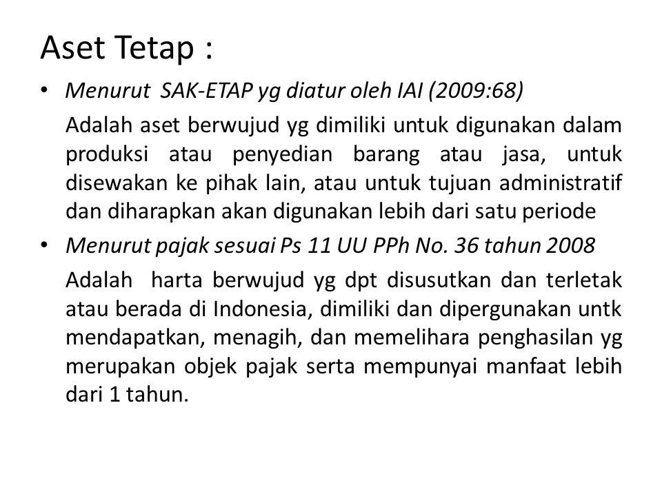 Aset Tetap : Menurut SAK-ETAP yg diatur oleh IAI (2009:68)