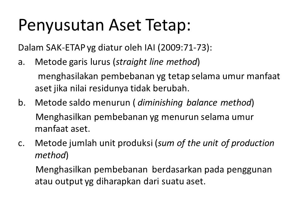 Penyusutan Aset Tetap: