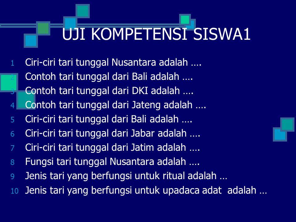 UJI KOMPETENSI SISWA1 Ciri-ciri tari tunggal Nusantara adalah ….
