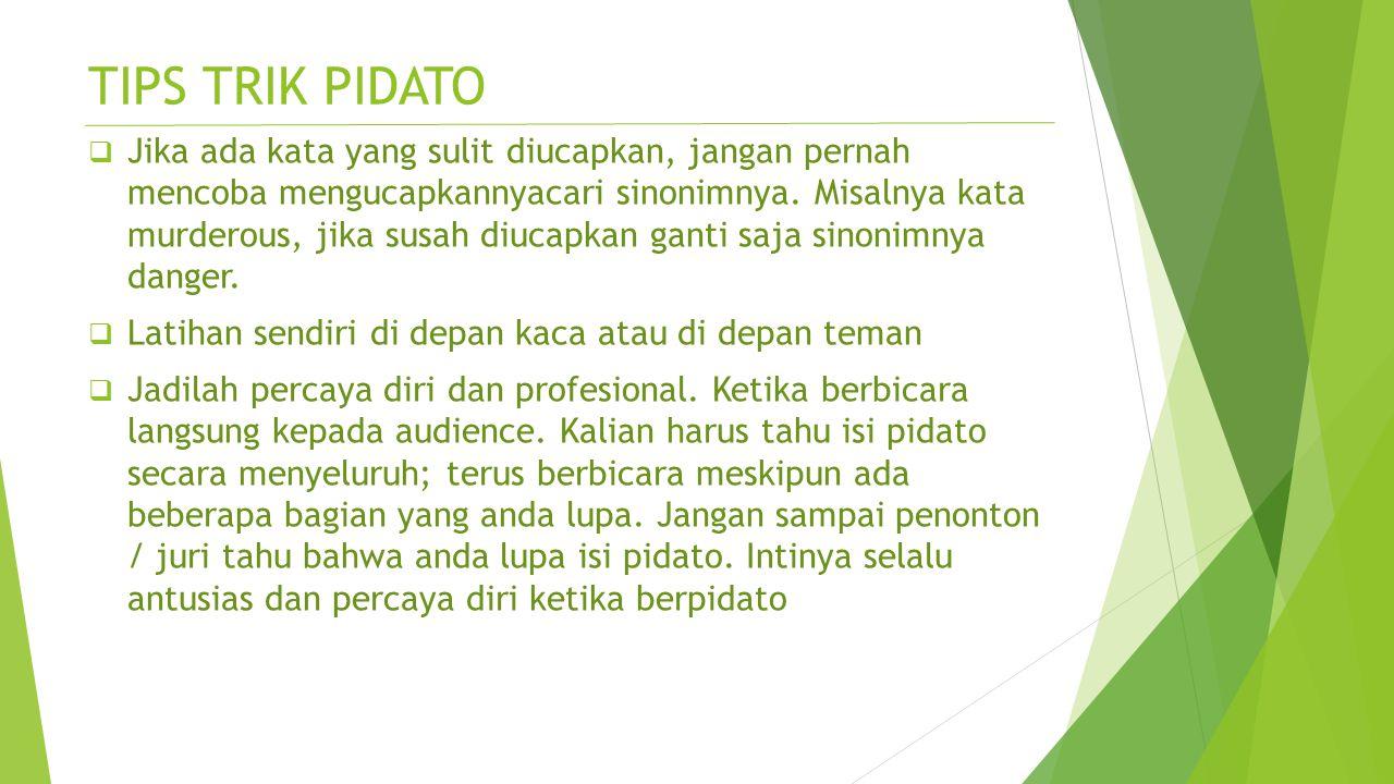 TIPS TRIK PIDATO
