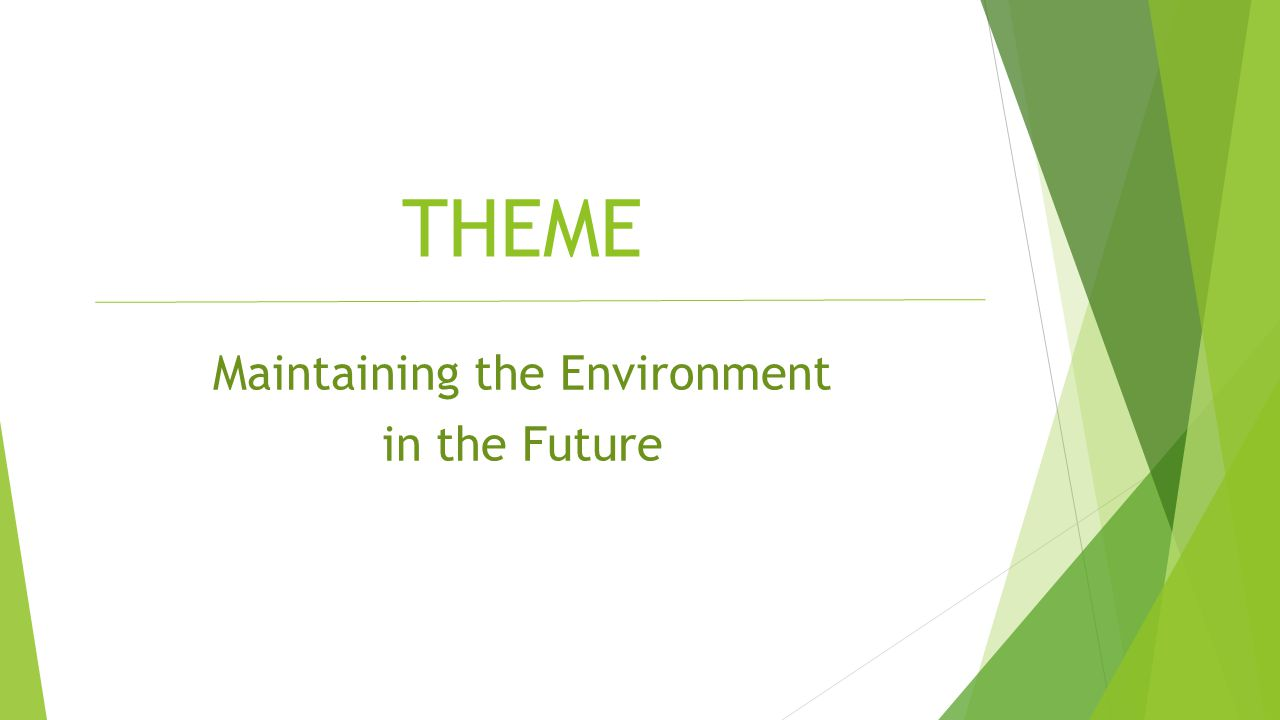 Maintaining the Environment in the Future